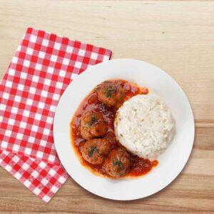 Chiftelute cu sos de rosii si orez, 250 gr