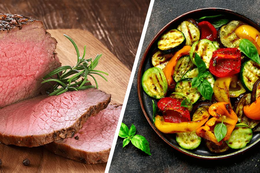 Roast beef cu legume sotate