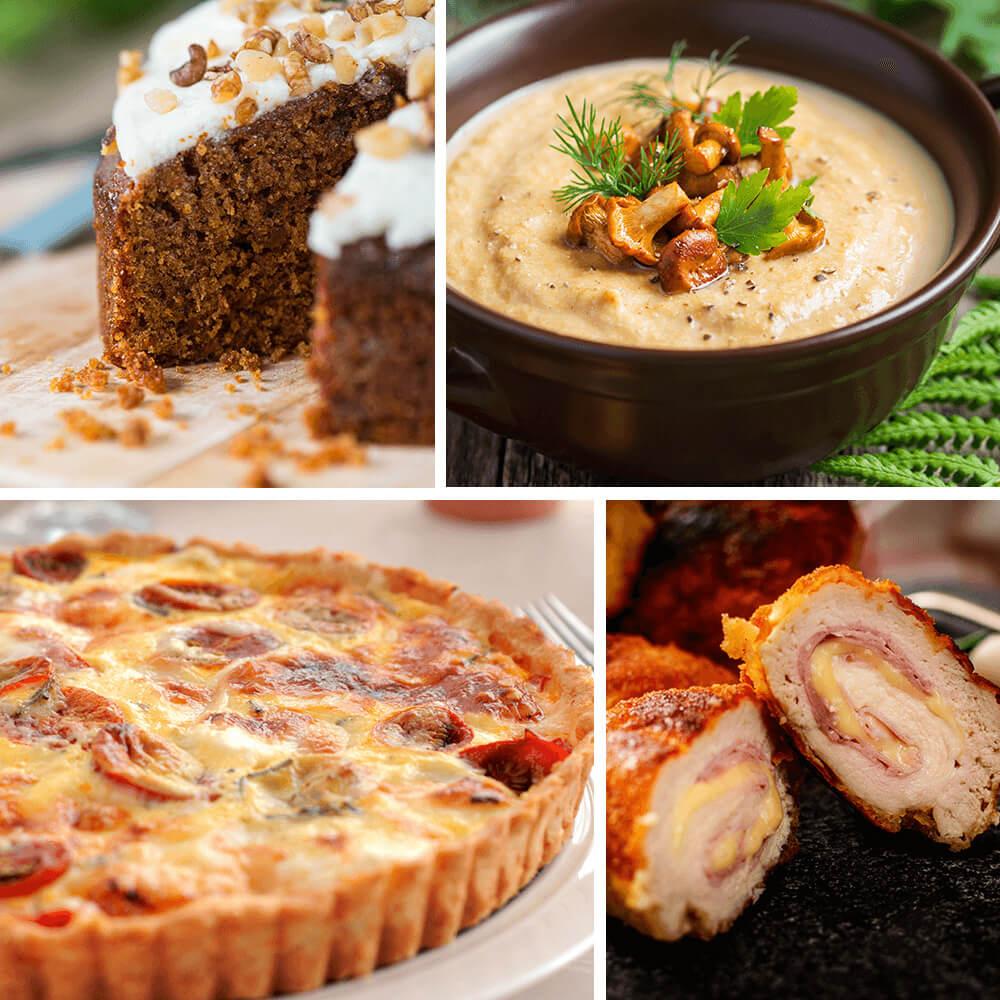 Supă de pui cu tăieței, paste carbonara sau tartă cu mozarella, prosciutto cotto, salată, tartă caramel